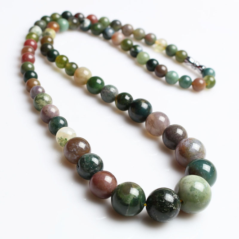 Indian Agate Nature Stone Necklace For Women 6/8/10/12/14mm Quartz Semi-precious Stone Beaded Necklace,Party Gift Ожерелье
