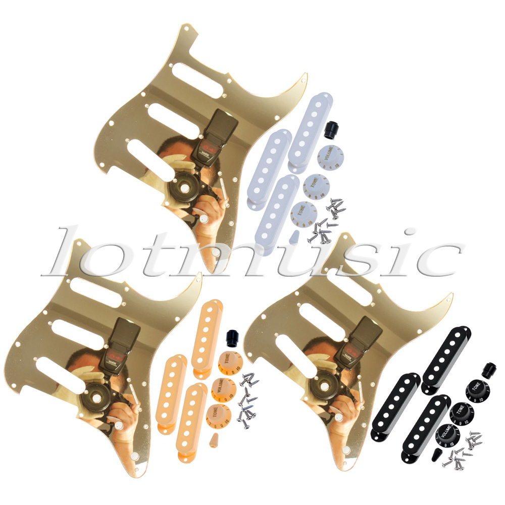 3 Set USA Standard Guitar Pickguard Gold Mirror+Single Coil Pickup Covers+Knobs single coil pickup cover 1 volume 2 tone knobs switch tip for strat guitar replacement ivory 10 set