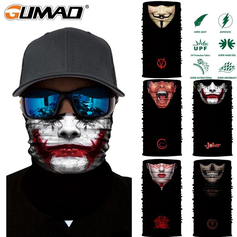 3D Joker Nahtlose Magie Hals Gamasche Gesicht Schild Radfahren Angeln Bike Ski Camping Bandana Halloween Stirnband Schal Männer Frauen Maske