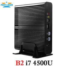 Мини-ПК без вентилятора htpc компьютер Intel Core I7 Mini PC i7-4500U с двумя LAN двойной hdmi
