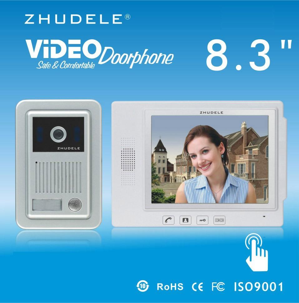 ZHUDELE Top Quality Intercom System 8.3 Video Door Phone Touch Key Doorbell&IR 700TVL HD Home Security CCD Camera 1V1