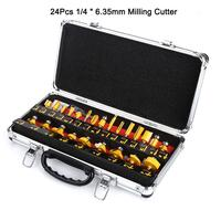 24PCS Milling Cutter Router Bit Set Wood Cutter Carbide Shank Mill Woodworking Trimming Engraving Carving Cutting Tools