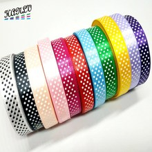15MM Width 1 Roll(45 yards) Printed Dots Satin Ribbons Gift Packing Belt Wedding Party Decorative Crafts DIY Accessories