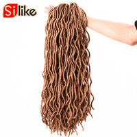 Silike 24Root Pc 2X Short 12 20 Black Brown Bug Faux Locs Curly Crochet Braids Synthetic