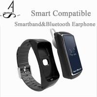 AhSSuf Auricular Bluetooth Monitor de Ritmo Cardíaco Contador de Paso de Banda Inteligente Sueño MP3 Reproductor de Música Pulsera Pulsometro