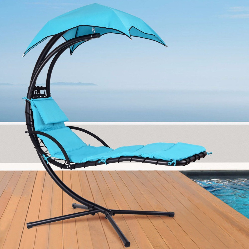 цены Giantex Hanging Chaise Lounger Chair Arc Stand Porch Swing Hammock Chair W/ Canopy Blue Outdoor Furniture OP3460BL