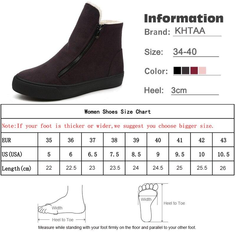 KHTAA Women's Winter Ankle Boots Female Zipper Flock Platform Snow Boot  Ladies Plush Sneakers Casual Flat Shoes Woman Footwear