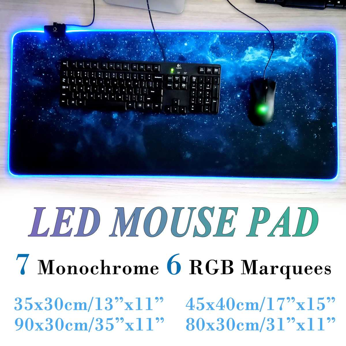 Large RGB LED Mouse Pad 7 Color USB Wired Lighting Gaming Gamer Non-slip Colorful  Mousepad For Laptop Computer Desk Mat Mice