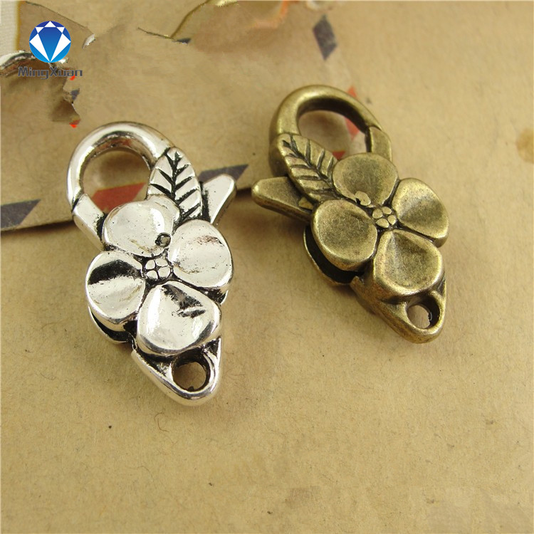 5pcs/lot Antique Silver Flower Lobster Clasp Hooks For Necklace Bracelet Chain DIY Jewelry Accessory Findings 26*15MM