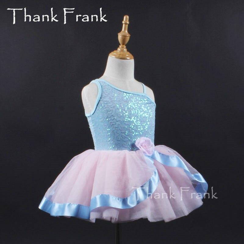 Meiteņu profesionālā baleta Tutu kleita bērniem pievilcīgu stilu puķu princese kleitas ar vienu plecu Bērnu baleta deju kostīms