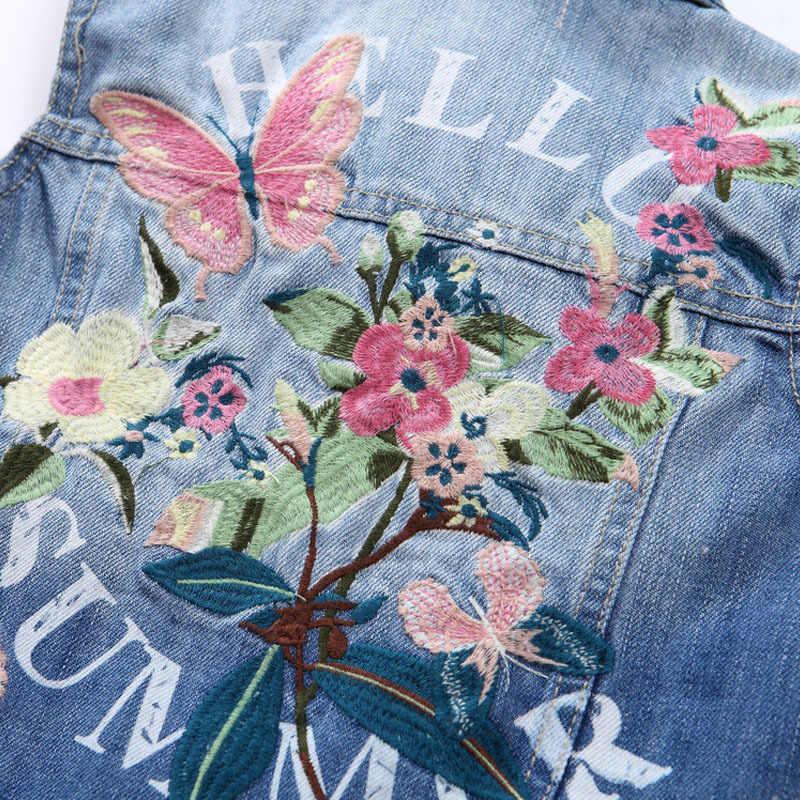 Детские джинсовые жилеты с цветочным рисунком для девочек модные детские джинсовые пальто с вышивкой бабочки Верхняя одежда без рукавов из хлопка куртки От 1 до 8 лет