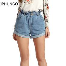 IPHUNGO Casual Black 2017 Hemming Denim Shorts Women Button Summer Beach High Waist Shorts Pocket Blue Jeans Shorts Female