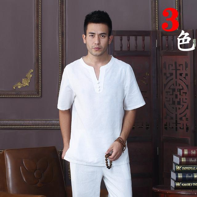 Verão de Moda de Nova Branco de Linho de Algodão dos homens Tradição Chinesa Kung Fu-camisa de manga curta tang terno m l xl xxl xxxl D07