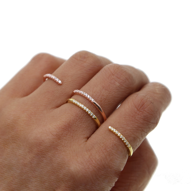 dab8f3058 925 sterling silver open double finger ring jewelry gold rose gold 2 colors  micro pave cz thin band simple S letter rings