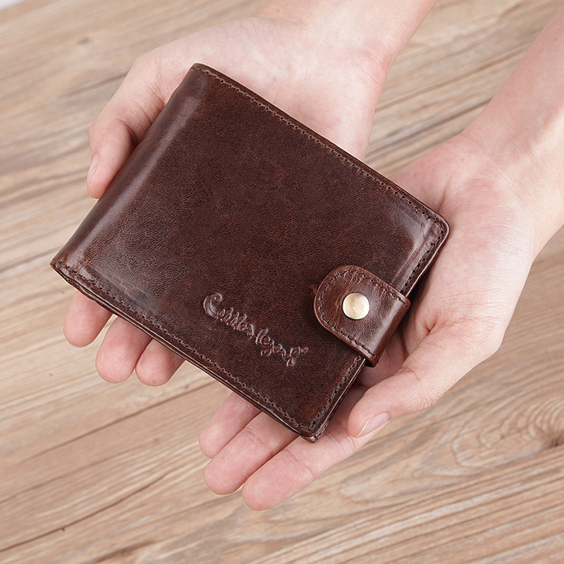 Cobbler Legend Genuine Leather Men Wallets Vintage Trifold Wallet Zip Coin Pocket Purse Cowhide Wallet For Mens Money Clip