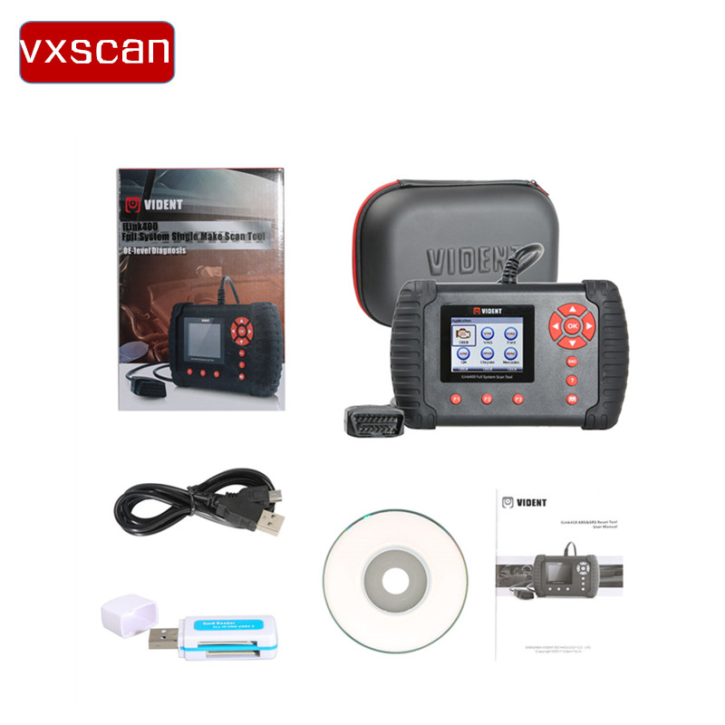 Origional VIDENT iLink400 Full System Single Make Scan tool Support Oil service Light Reset/Throttle Body Alignment UpdateOnline
