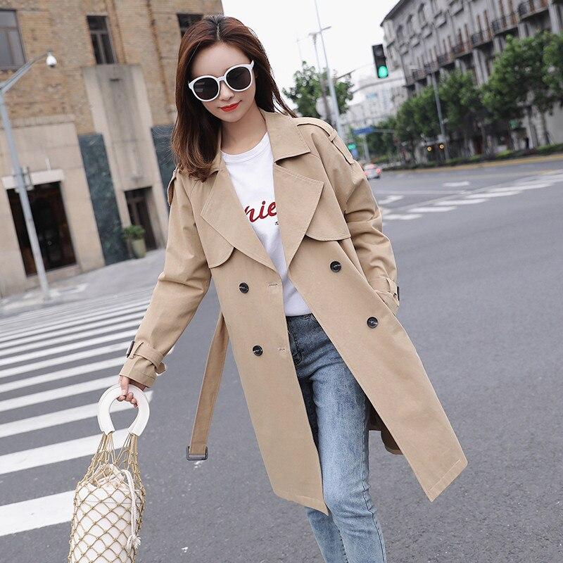 2019 New Spring Autumn Women's Long   Trench   Coats Korean Double-breasted Slim Belt Windbreaker chic Coat Female Overcoat N20
