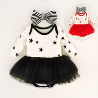 Newborn Baby Girl Outfit Summer Style Baby Clothing Set Tutu Dress Romper Striped Bow Headband Boutique
