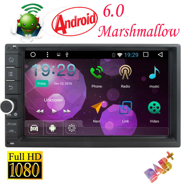 2 Din Android 6.0 HD Muti-Touch Car NO DVD Stereo GPS Radio Nav Mirror-link OBD