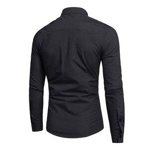 Image 4 - Mens צבא ירוק טקטי כותפת שמלת חולצות ארוך שרוול תחתונית Homme 2018 מותג כותנה לנשימה Slim ספארי סגנון חולצה גברים