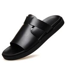 Sandalias Hombre Slippers Men Male 2018 Summer Beach Shoes Outdoor Flip Flops Platform Sandals Split Leather New Shoes DA057 стоимость