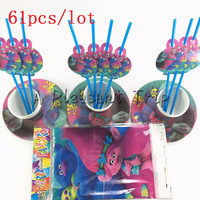 61pcs Lot Trolls Cartoon Baby Shower Decoration Birthday Party Straws Trolls Theme Paper Cups Kids Favors