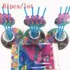 61pcs Lot Trolls Cartoon Baby Shower Decoration Birthday Party Straws Trolls Theme Paper Cups Kids Favors