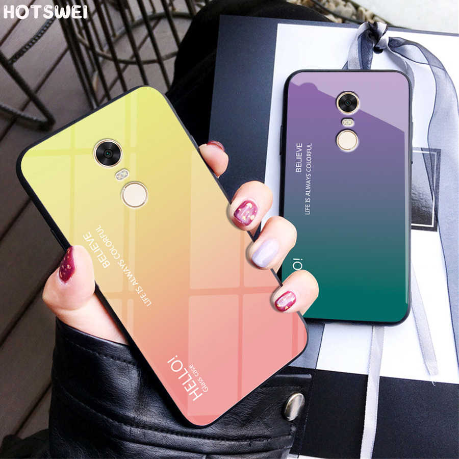 HOTSWEI Case For Xiaomi Redmi Note 4 X 4X Luxury Gradient Color Mirror Tempered Glass + Soft TPU Edge Cover Redmi Note 4X Cases