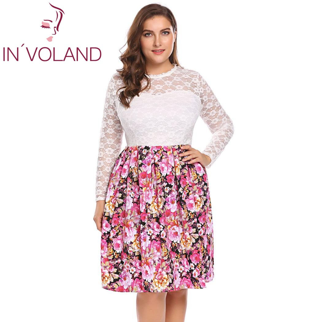 aa5032743c96a IN'VOLAND Plus Size XL 5XL Women Vintage Dresses Autumn Hollow Floral Lace  Long Sleeve Swing Party Large Dresses Robe Big Size-in Dresses from Women's  ...