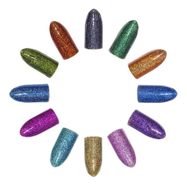 12 pudełka/zestaw 12 Kolory Holograficzny Brokat Vtirka Proszku Brokat Do Paznokci Manicure Dla Nails Art Chrome Pigment DIY Dekoracje narzędzia