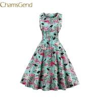 Chamsgend Newly Design Lady Vintage Prairie Chic Style Flamingo Birds Print Party Dress Female Vestido 70928