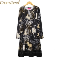 Chamsgend Vestido Newly Design Women Fashion Reindeer Art Print Lace Patchwork Long Sleeve Party Dress 71102