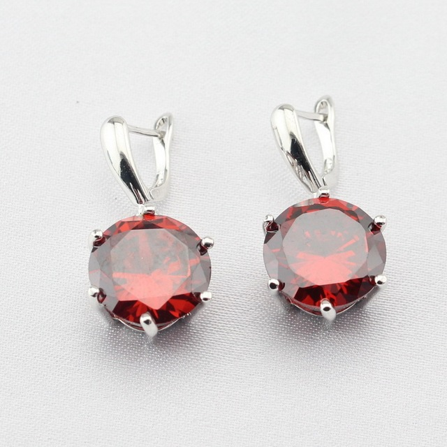 Round Red Purple Blue Cubic Zirconia Earring Jewelry Silver Color Drop Earrings For Women Free Gift