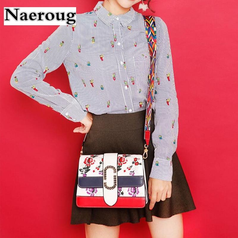 2018 Newest Women Handbag Crossbody Shoulder Bag Square Flower Embroidery Messenger Bag Retro Embroided Bags Wide Colorful Strap