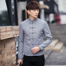 The spring wind Chinese Chinese men's modified costume Hanfu lay clothes retro folk style leisure coat male Costume