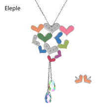 Eleple Stainless Steel Cute Colorful Love Oil Painted Necklace Earring Set Women Fashion Crystals Pendant Jewelry Sets S-S067
