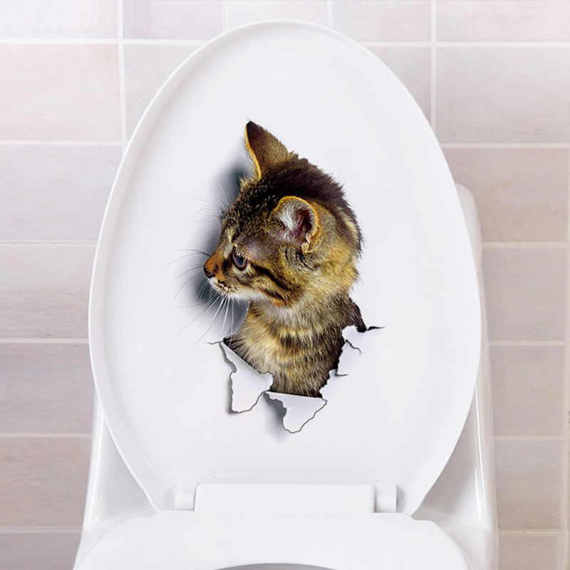 Lucu 3D Kucing Wallpaper Dekorasi Kamar Mandi Toilet Ruang Tamu Dekorasi Rumah Stiker Latar Belakang Stiker PVC Wallpapersc Clh @ 8