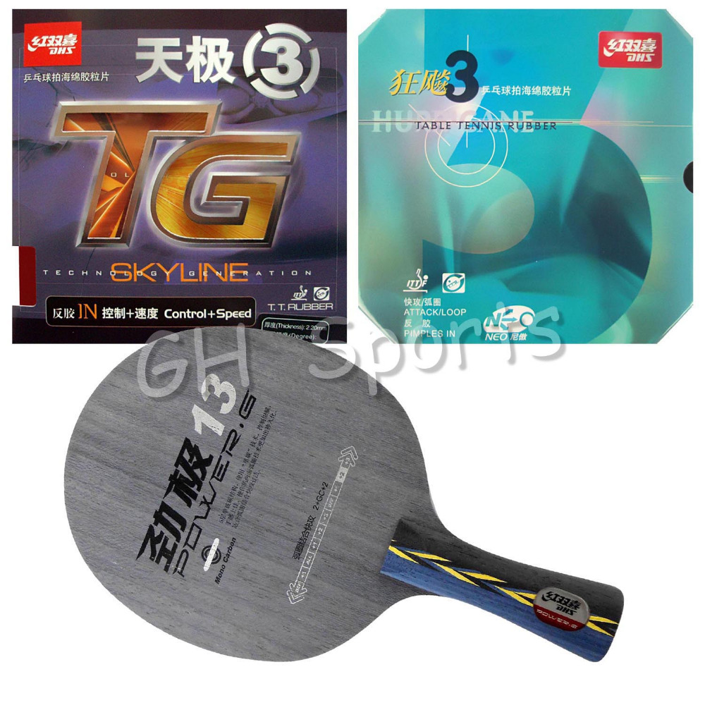 Pro Table Tennis PingPong Combo Racket DHS POWER.G13 PG13 PG.13 PG 13 with NEO Hurricane 3 and Skyline TG3 Long shakehand FL original pro table tennis combo racket dhs power g13 pg13 pg 13 pg 13 with neo hurricane 3 and skyline tg 3 long shakehand fl
