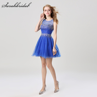 In Stock Scalloped Crystal Beaded Tulle Short Homecoming Dresses 2017 New Arrival Real Sample Elegant Short