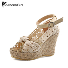 Haoshen&Girl women sandals 2019 Summer Wedge Platform Sweet Lace Ankle Strap Butterfly-knot Big size 34-43
