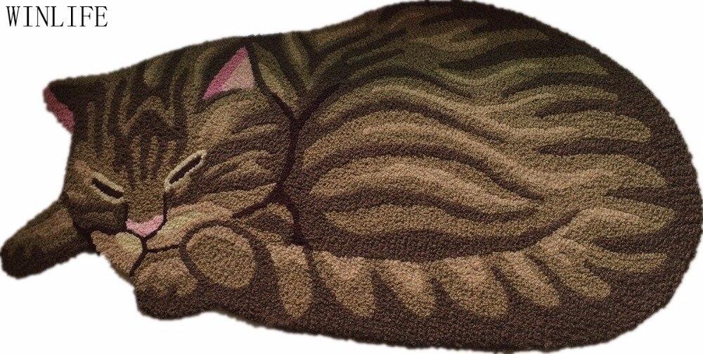WINLIFE 브라운 귀여운 잠자는 고양이 모양의 침실 지역 깔개 줄무늬 고양이 카펫