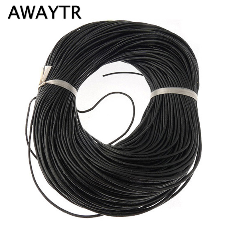 AWAYTR 10M 1.5mm Genuine Real Round Leather Cord/String Natural Brown Making/Design Jewelry Necklaces Pendant Bracelet CordsAWAYTR 10M 1.5mm Genuine Real Round Leather Cord/String Natural Brown Making/Design Jewelry Necklaces Pendant Bracelet Cords