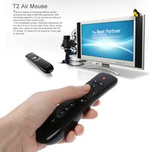 2.4GHz Fly Air Mouse T2 Remote Control Wireless With Microphone Mic Voice Search for 3D Gyro Motion Stick for Smart TV Box 2017 t2 fly air mouse 2 4g wireless gyro 3d motion stick remote control for smart tv