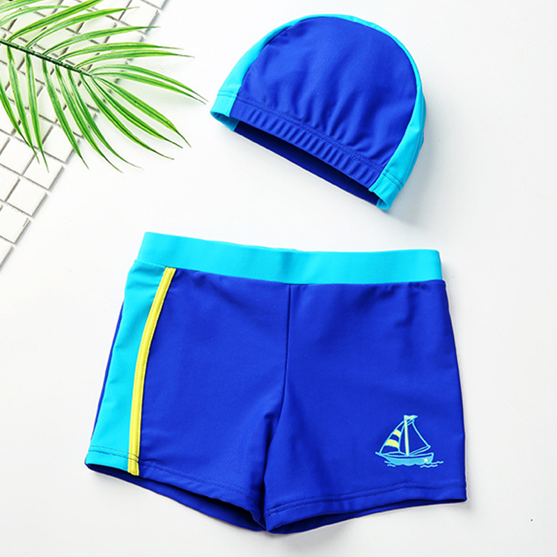 Swimwear for Children kids boys swim trunk boxer shorts with swimming cap cute baby boy swimsuit bathing suit 2018 new