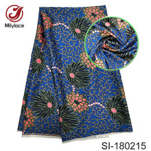 African wax pattern silk fabric digital printed design multi color style nigerian silk fabric for woman dress SI180215(China)