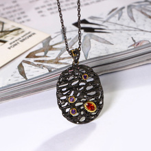 Red Crystal CZ big Oval Suspension Hollow Design Jewellery Pendant for Women Black Gold color Unique Necklace Jewelry stylish rhinestoned fake crystal oval necklace for women