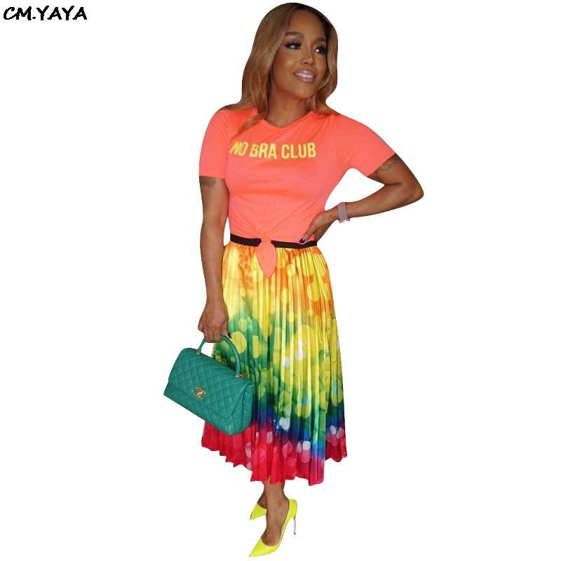 2019 new women galaxy tie dyed print summer mid-calf pleated skirts fashion active wear casual skirt outfit 2 color H1145