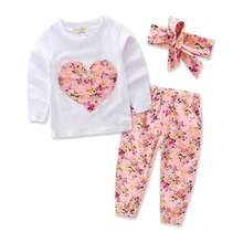 Fall Girls Clothing Set White Long Sleeve Girls Tshirt Floral Pants Outfit Autumn Heart Big Bow Children Outfit Kids Clothes