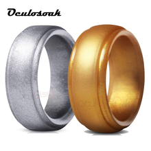 Food Grade FDA Silicone Rings For Men Wedding Rubber Bands Hypoallergenic Flexible Sports Antibacterial Finger Ring 8mm