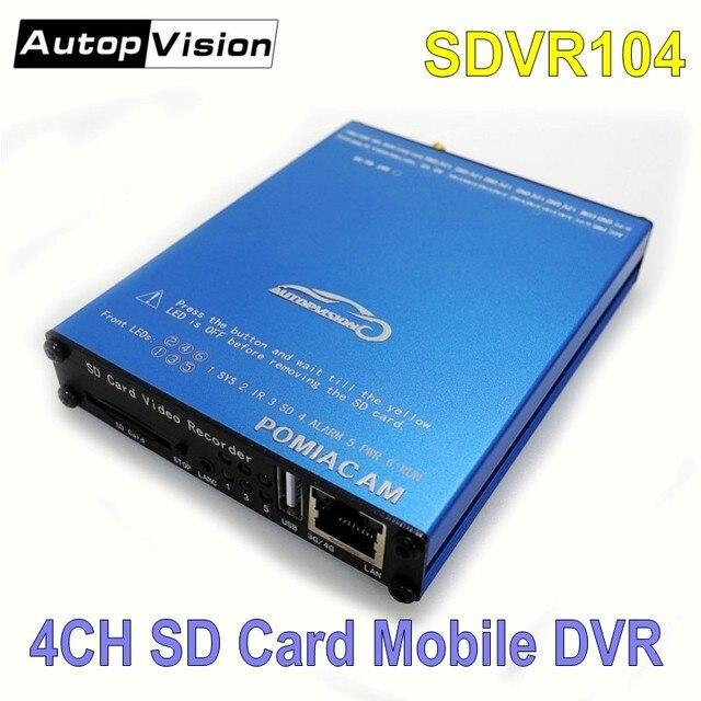 SDVR104 4 canali SD Card video recorder 4CH camion auto Bus Del Veicolo DVR Mobile video di sorveglianza di supporto 1080P AHD macchina Fotografica analogica
